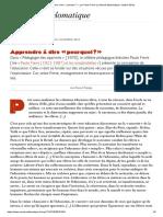 Apprendre à Dire « Pourquoi _ », Par Paulo Freire (Le Monde Diplomatique, Octobre 2013)