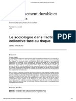Le Sociologue Dans l'Action Collective Face Au Risque