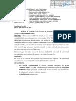 modelo de resolucion judicial de inadmisibilidad de demanda de exoneracion de alimentos