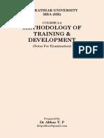 Methodology of Training & DevelopmentExamNotes