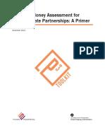 Value for Money Assessment for Public Private Partnerships