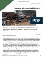 Indonésie - un tsunami fait au moins 222 morts