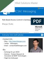 MCSM Exchange 2013 - Admin - 1 RBAC