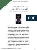 "Entrevista con Julius Evola. ""Ave Lucifer"". Elísabet Antebi | Biblioteca Evoliana"