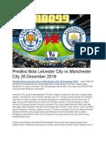 Prediksi Bola Leicester City vs Manchester City 26 Desember 2018