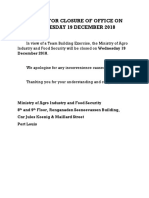 Notice for Closure of Office of Min of Agro Ind on Wednesday 19 December 2018