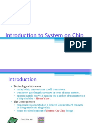 Introduction To System On Chip System On A Chip Integrated Circuit