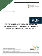 Ley de Ingresos Para El Municipio de Venustiano Carranza