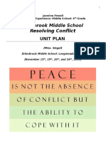resolving conflict health unit plan 6th grade