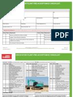 Jh Frm Pae 001 11 Excavator Plant Pre Acceptance Checklist