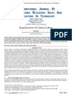 Regularization of Contract Labour