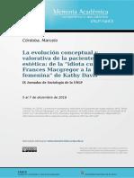 La evolución conceptual y valorativa de la paciente de cirugía estética
