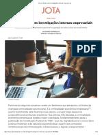 Breves Notas Sobre Investigações Internas Empresariais