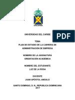 Plan de Estudio de Administracion de Empresa
