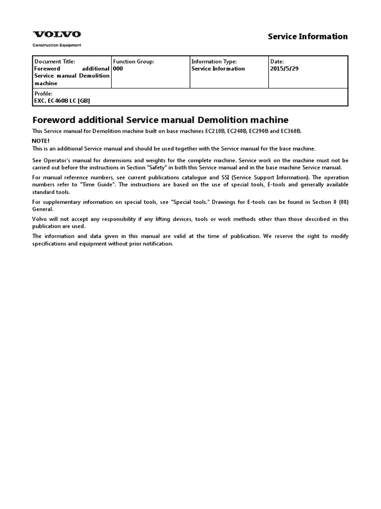 VOLVO EC460B LC EC460BLC EXCAVATOR Service Repair Manual.pdf | Watt |  Horsepower