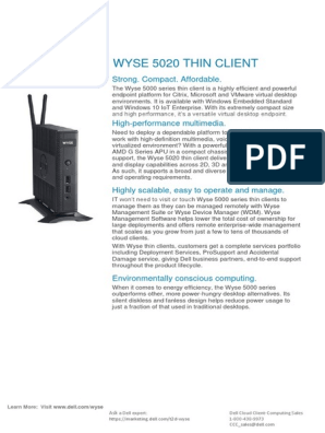 Wyse-5020-Thin-Client-Data-Sheet pdf | Computer Hardware