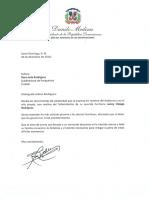 Carta de condolencias del presidente Danilo Medina a Rosa Julia Rodríguez por fallecimiento de su hermano Lenny Oleaga Rodríguez