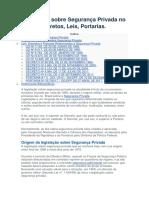 Legislação Sobre Segurança Privada No Brasil