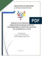 Elaboración de bolsas plásticas a base de almidón de Yuca