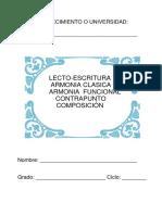 LECTO-ESCRITURA MUSICAL, ARMONIA CLASICA, FUNCIONAL Y CONTRAPUNTO