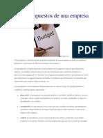 Los Presupuestos de Una Empresa