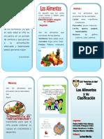 Triptico - Los Alimentos y Su Clasificacion