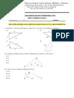 9 Ano Lista 01 Relacoes Metricas No Triangulo Retangulo e Circunferencias
