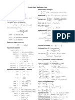 engineering mathematics Formula Sheet