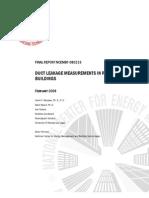 Duct Pressurisation Measurements
