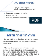 Preliminary design factors for sprinkler irrigation system