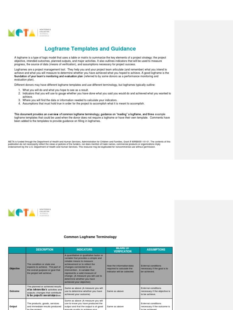 Logframe Template from imgv2-1-f.scribdassets.com