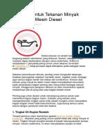 Alasan Tekanan Minyak Rendah Di Mesin Diesel
