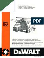 Manuale Pialla Filo Spessore DeWalt DW1150