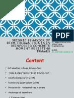 Seismic Behavior of Beam Column Joints in Reinforced Concrete Moment Resisting Frames