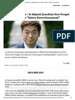 """Propos sexistes - le député Joachim Son... recevoir une """"lettre d'avertissement"""""""