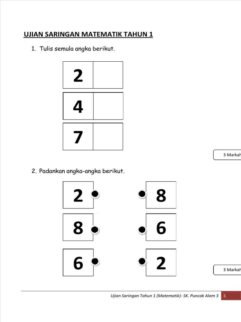 1 Tulis Semula Angka Berikut Ujian Saringan Matematik Tahun 1