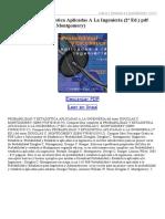 Probabilidad Y Estadistica Aplicadas a La Ingenieria (2ª Ed)