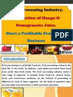 Fruit Processing Industry. Production of Mango & Pomegranate Juice