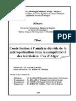 Contribution à l'Analyse Du Rôle de La Métropolisation Dans La Compétitivité Des Territoires