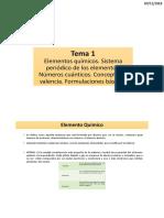 1.Tema 1 - Elementos Qº, Sistema Periódico y Formulación Básica