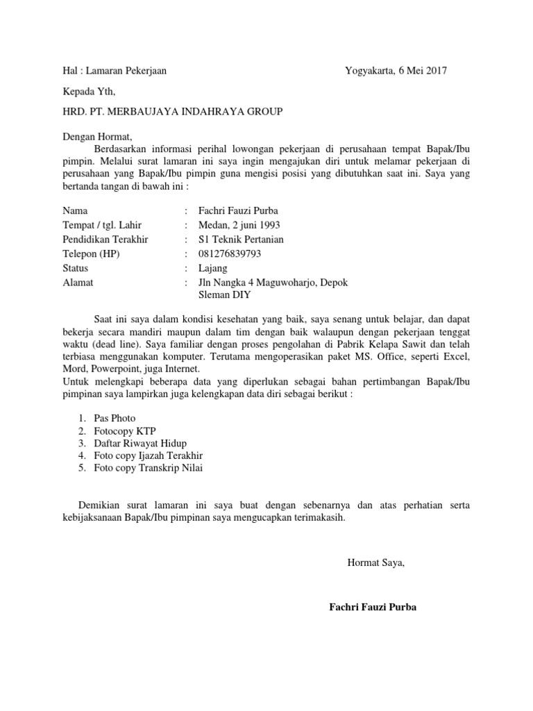 Contoh Surat Lamaran Kerja Pabrik Sawit Nusagates