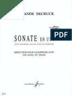 Sonata F Decruck Saxophone