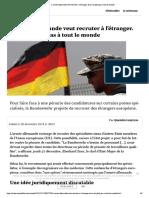 L'armée allemande veut recruter à l'étranger. Et ça ne plaît pas à tout le monde