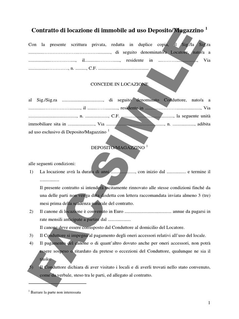 Contratto Uso Deposito Renting Business Law