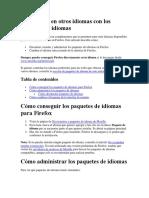 Usa Firefox en Otros Idiomas Con Los Paquetes de Idiomas