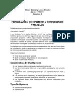Formulacion de Hipotesis y Definicion de Variables
