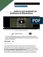 Por Qué España Se Está Quedando Sin Profesores de Matemáticas