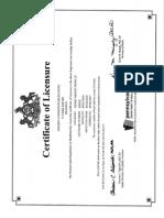 Golden Living Center-Reading certificate of licensure