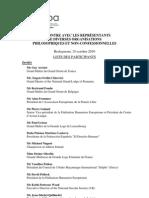 Liste Des Participants - 15 Octobre 2010