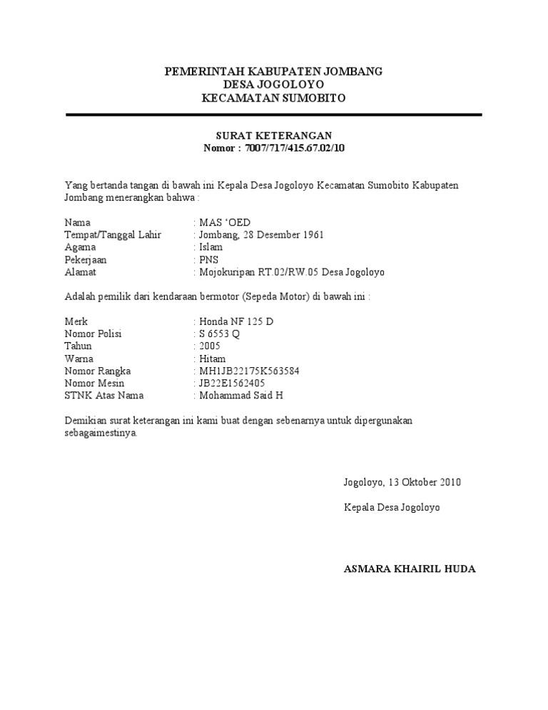 Contoh Surat Keterangan Cerai Dari Kepala Desa Kumpulan